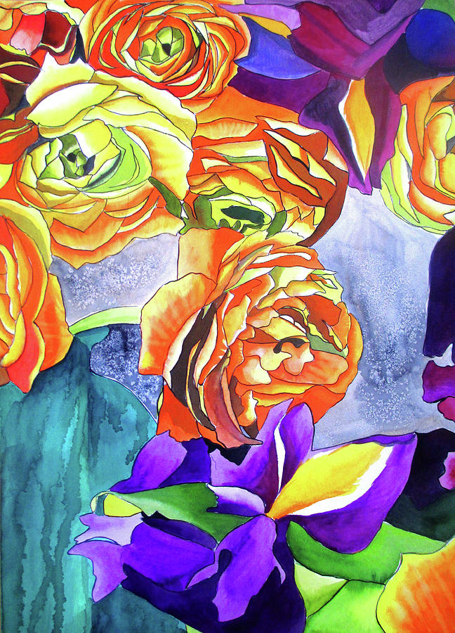 Ranunculus Painting - Ranunculus And Iris by Sacha Grossel