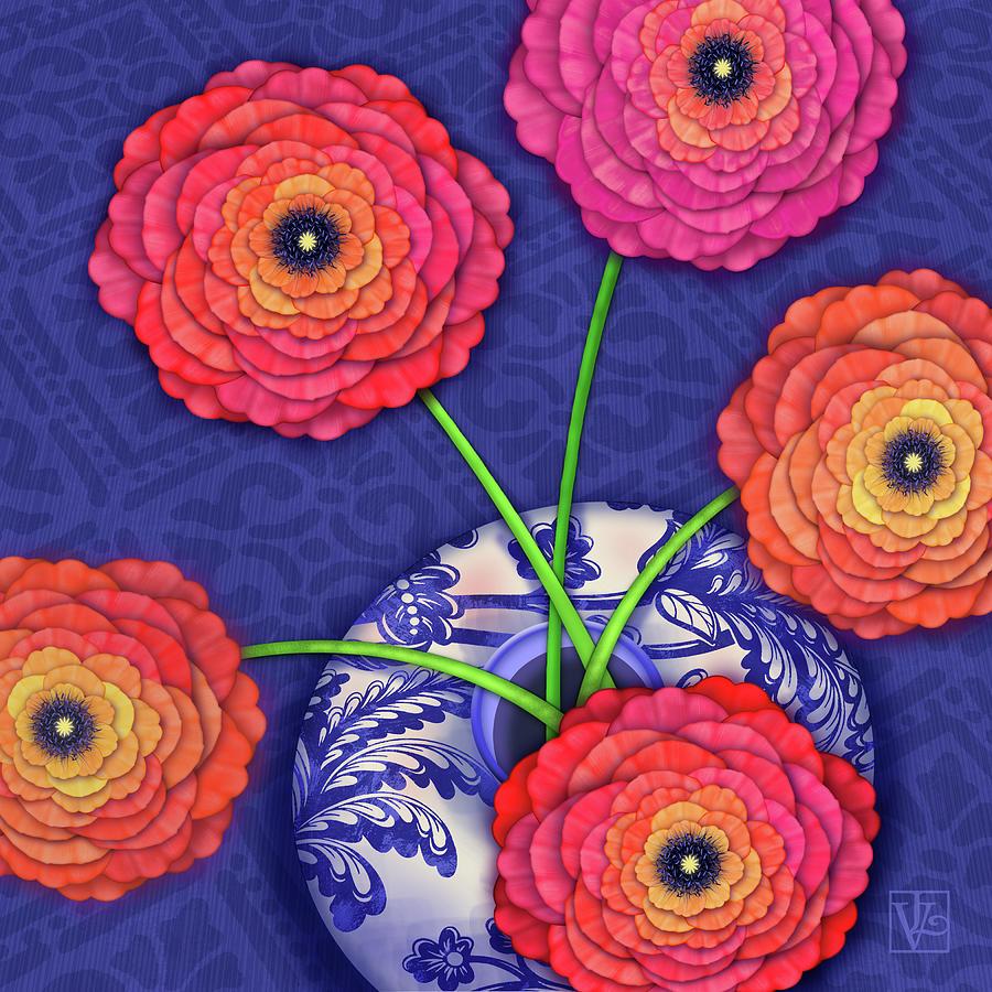 Ranunculus in Blue and White Vase by Valerie Drake Lesiak