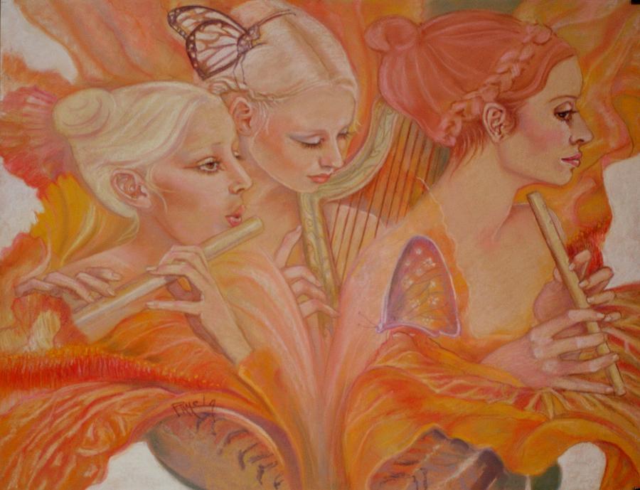 Fairies Pastel - Raphsody On An Iris by Pamela Mccabe