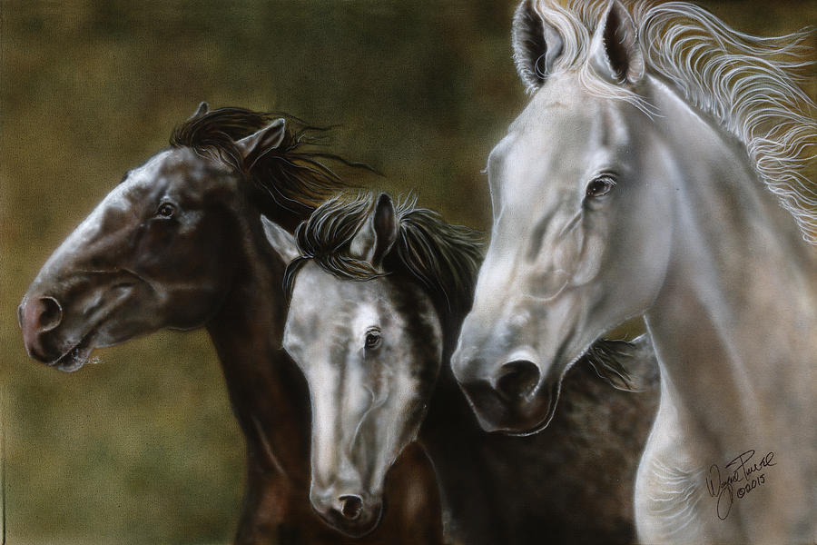 Wild Horses Painting - Rare Breeds Running by Wayne Pruse