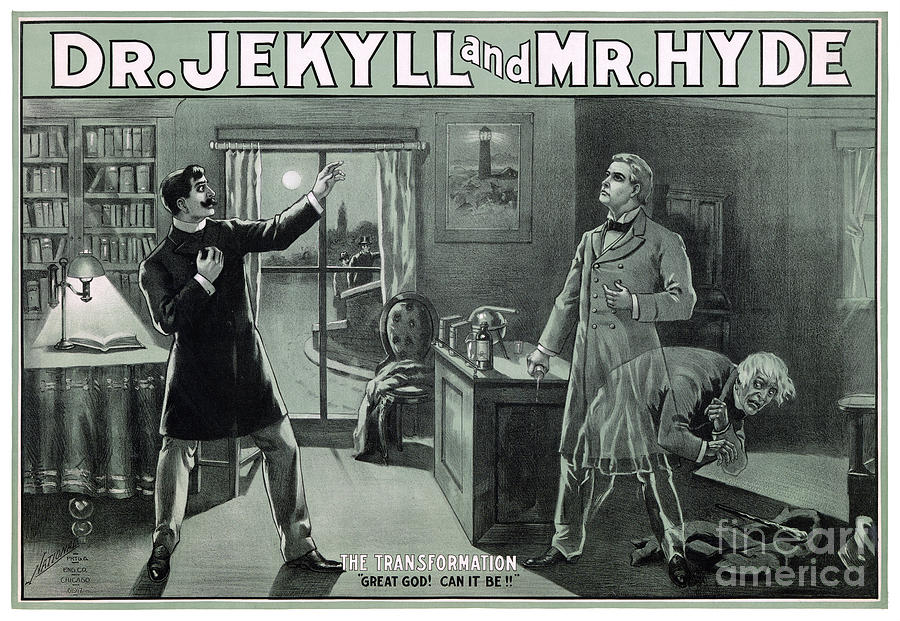 Jekyll Painting - Rare Dr. Jekyll And Mr. Hyde Transformation Poster by Vintage Treasure