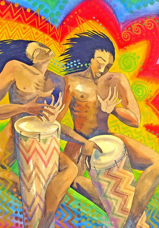 Drumming Caribbean Rythm Vibrance Colourful Rasta Painting - Rasta Rythm by Jennifer Baird