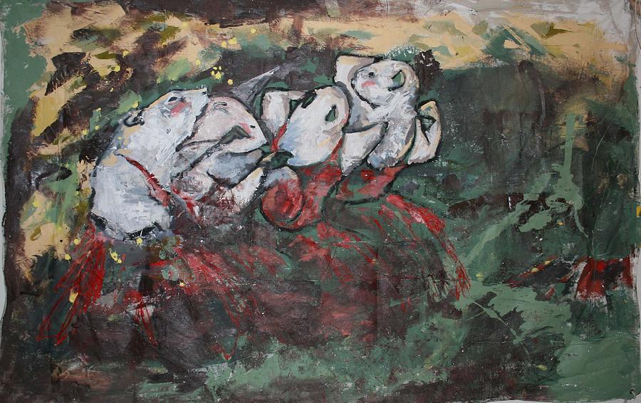Rat Painting - Rat Dancers by Danielle Wilbert