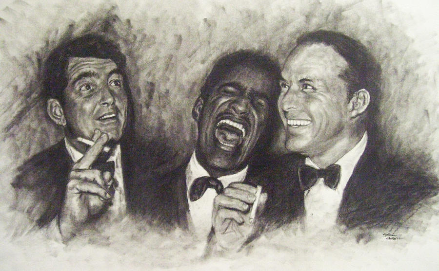 Dean Martin Drawing - Rat Pack by Cynthia Campbell