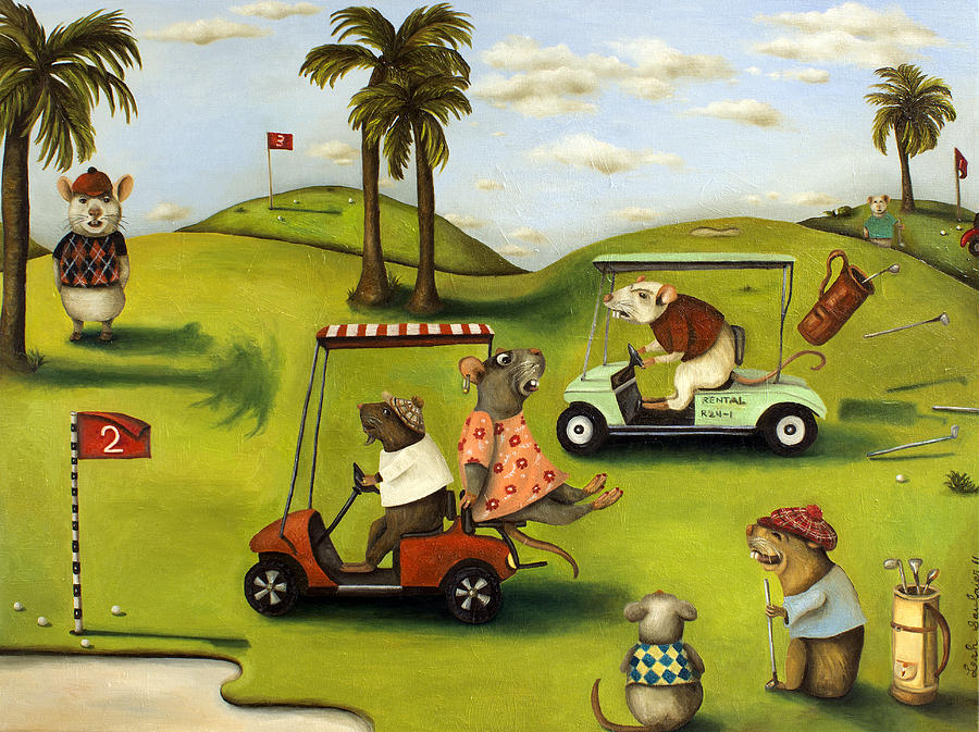 Golf Painting - Rat Race 2  At The Golf Course by Leah Saulnier The Painting Maniac