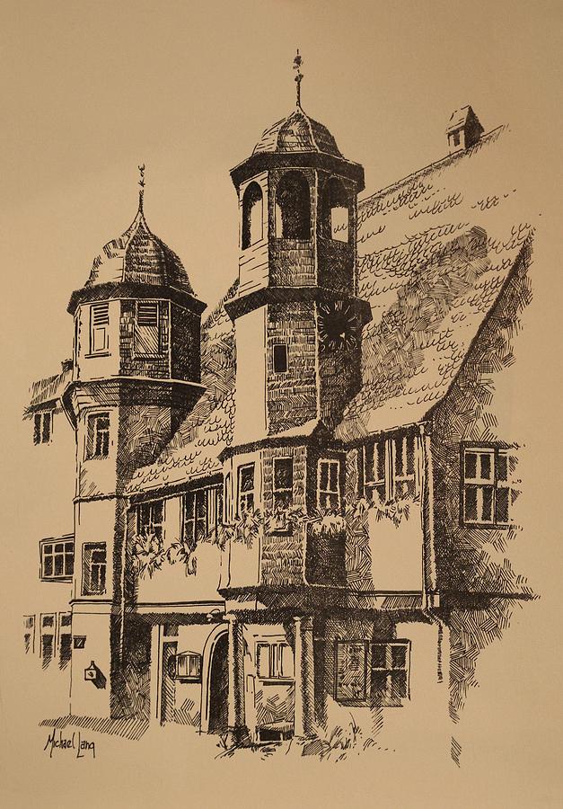 Rathaus Drawing - Rathaus by Michael Lang