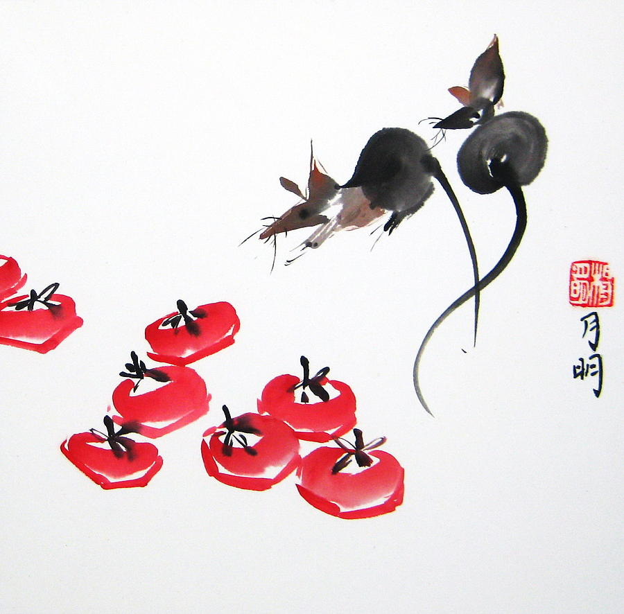 Chinese Painting Painting - Rats In Raid by Ming Yeung