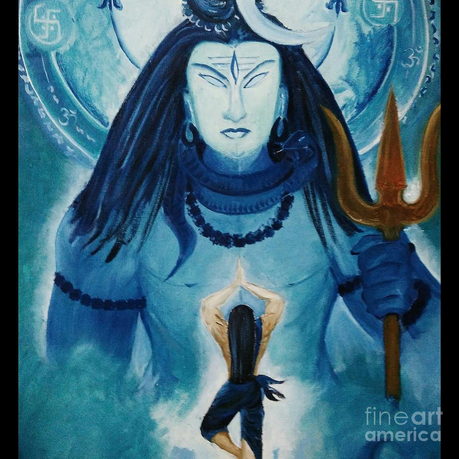 Ravana Praying Lord Shiva Painting by Malini Ashok