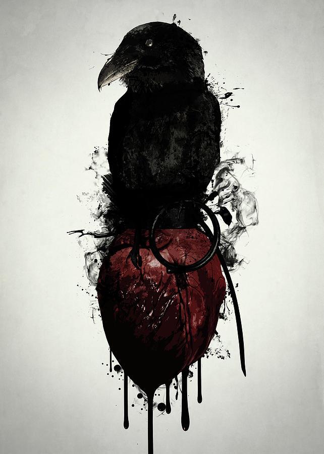 Raven Digital Art - Raven And Heart Grenade by Nicklas Gustafsson