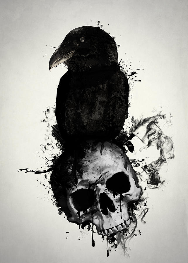Raven Mixed Media - Raven And Skull by Nicklas Gustafsson