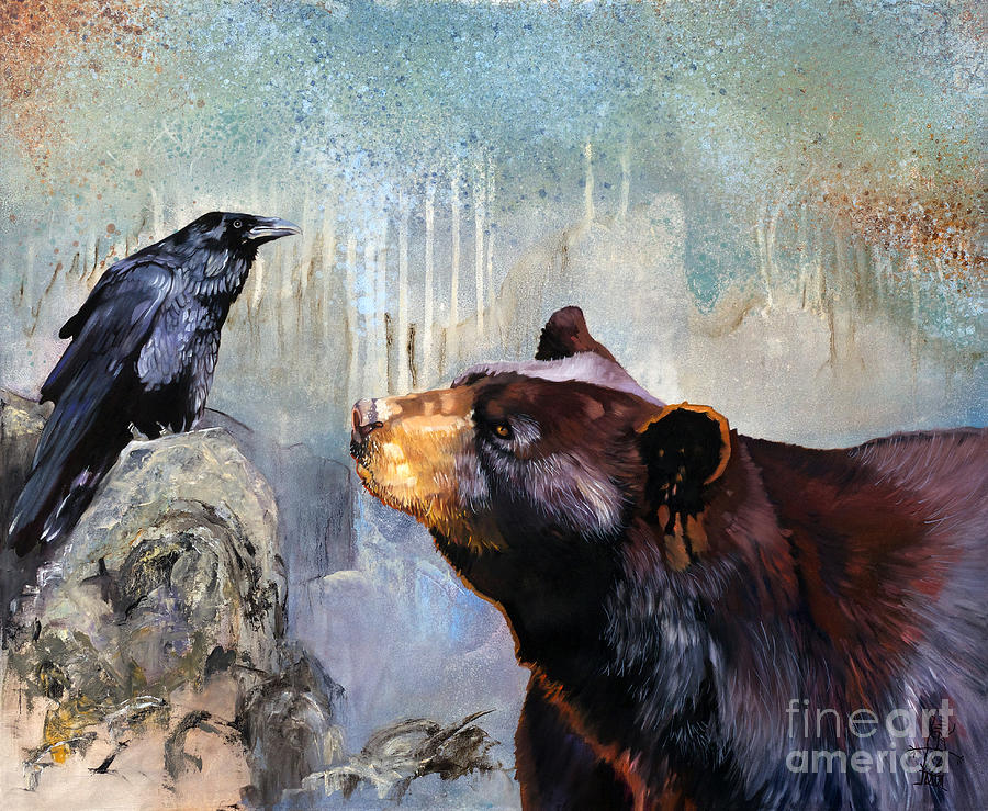 Raven Painting - Raven and the Bear by J W Baker