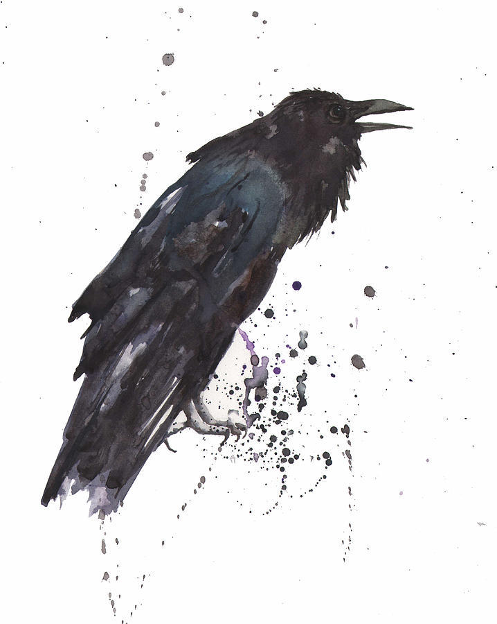 Black Feathers Painting - Raven  Black Bird Gothic Art by Alison Fennell