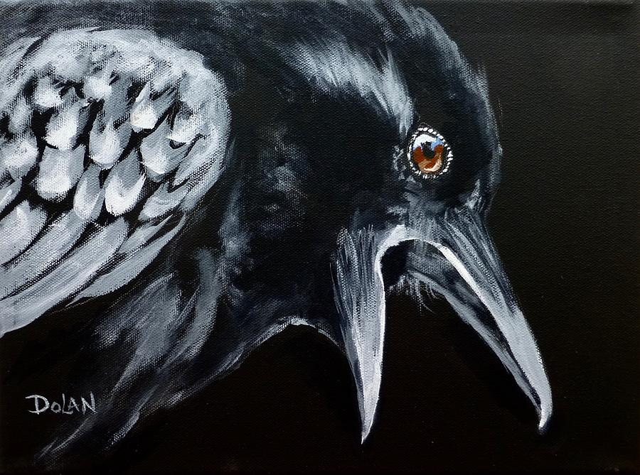 Acrylic Painting Painting - Raven Complaining by Pat Dolan