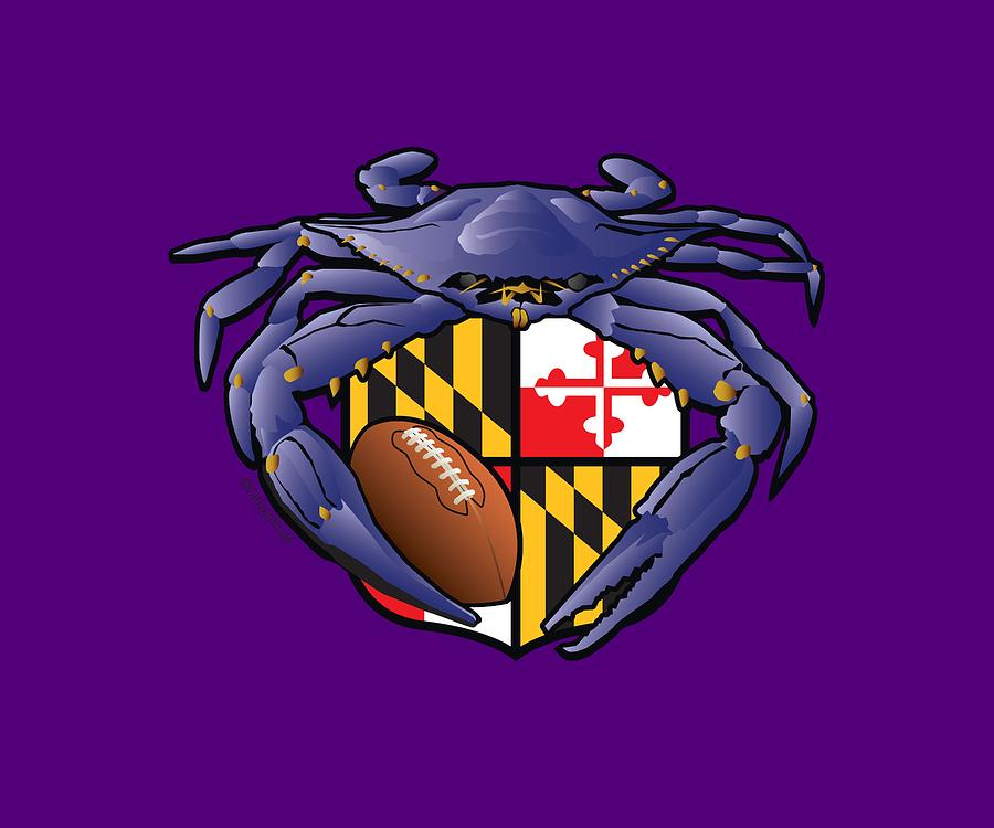 Baltimore Ravens Digital Art - Raven Crab Football Maryland Crest by Joe Barsin