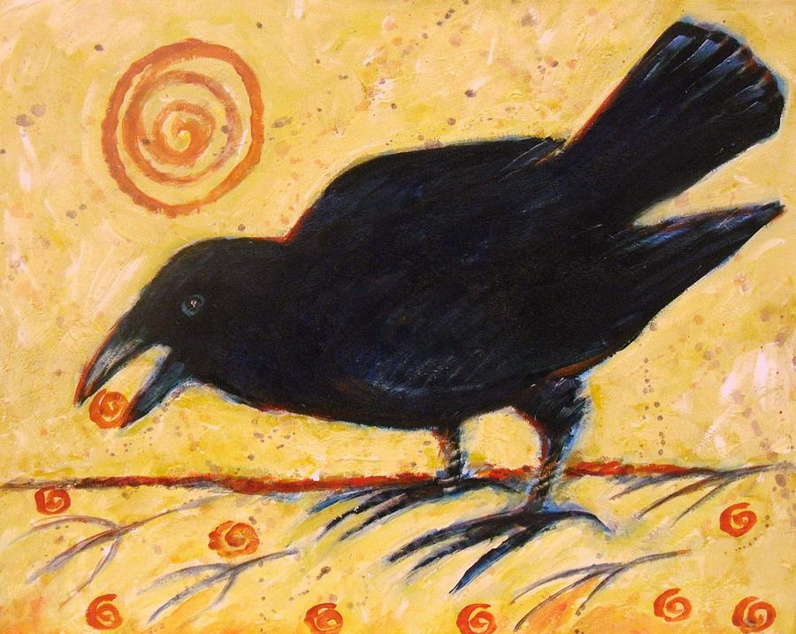Bird Painting - Raven Grazing by Carol Suzanne Niebuhr