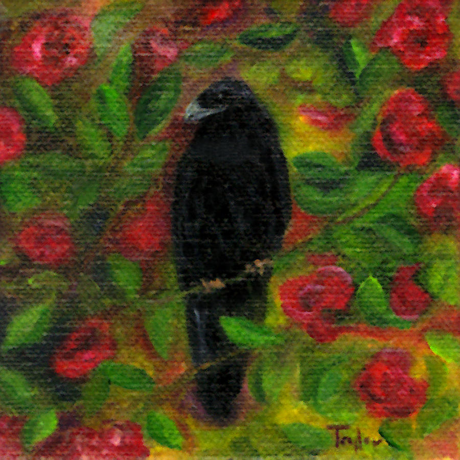 Raven Painting - Raven In Roses by FT McKinstry