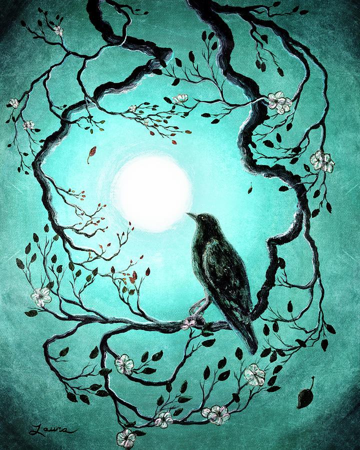 Raven In Teal Painting By Laura Iverson