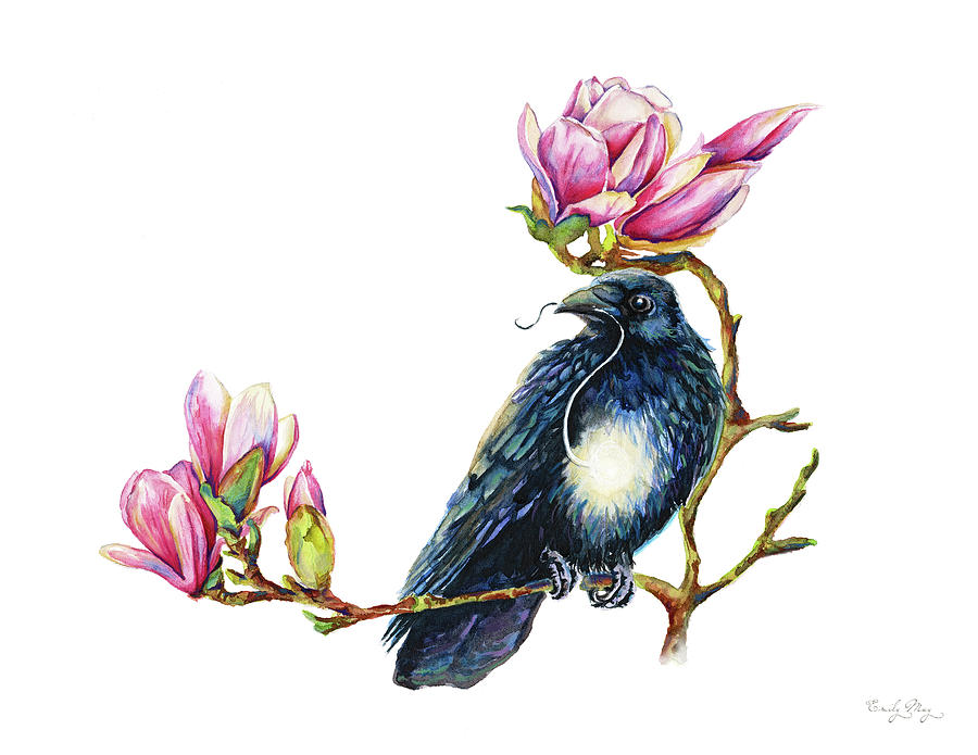 Raven In The Magnolia Tree by Emily May Studio Arts