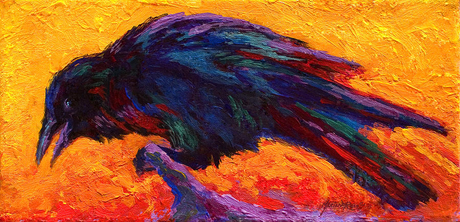 Crows Painting - Raven by Marion Rose