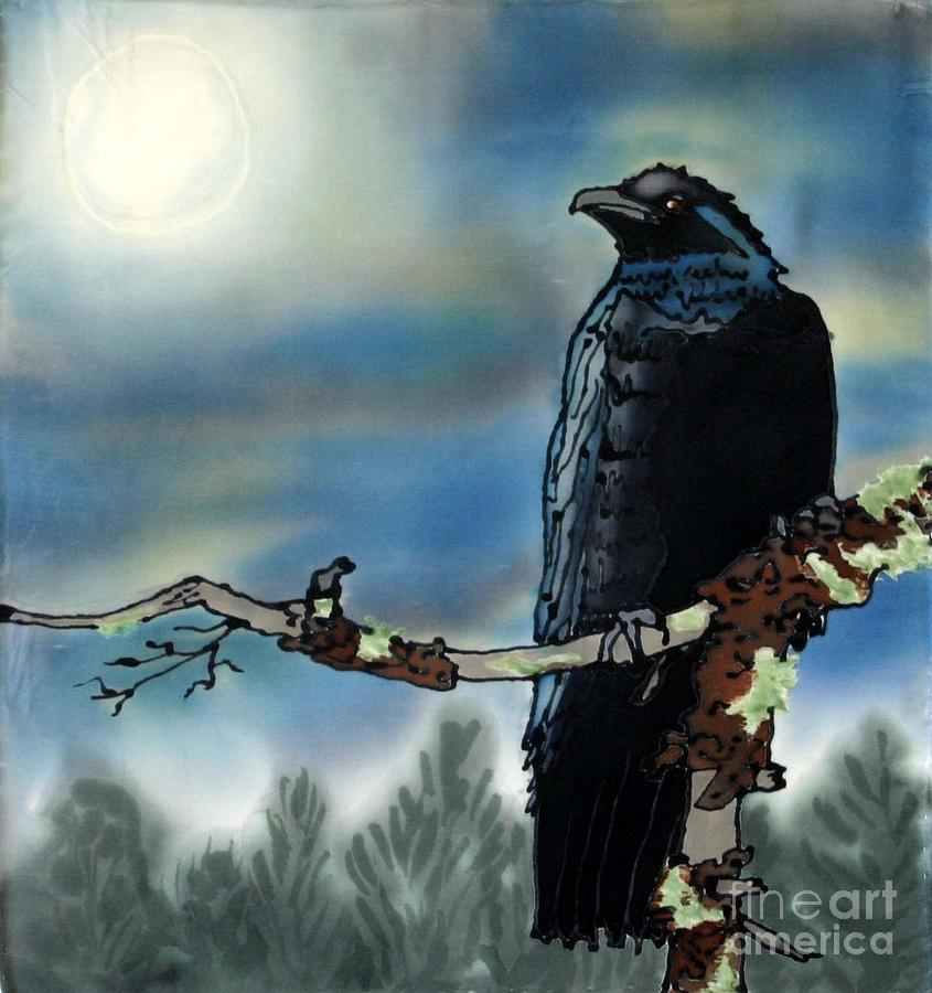 Silk Painting - Raven Moon by Linda Marcille