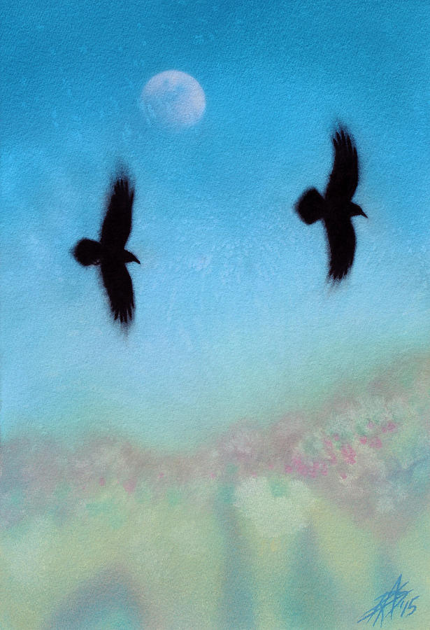 Raven Painting - Raven Pair With Diurnal Moon by Robin Street-Morris
