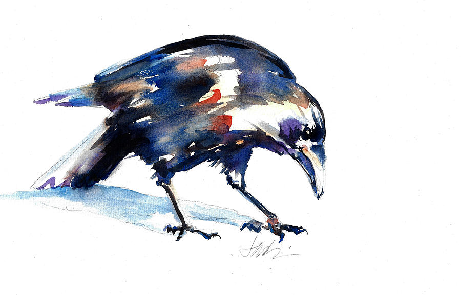 Raven Painting - Raven Shadow From Vancouver by Jacki Kellum