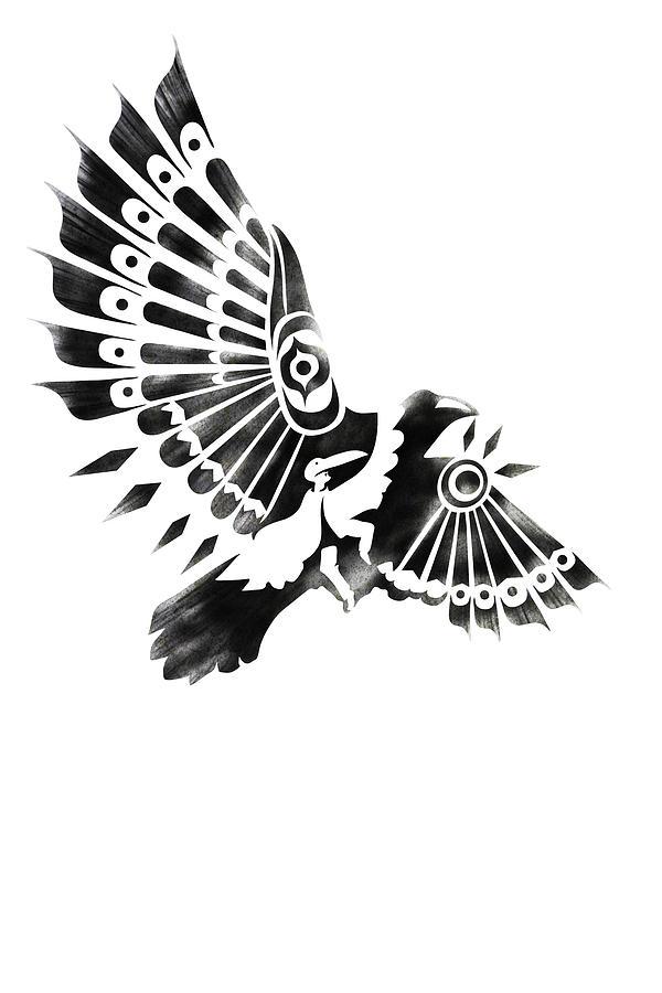 Shaman Painting - Raven Shaman tribal black and white design by Sassan Filsoof