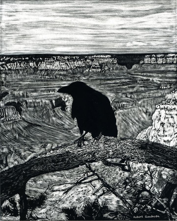Landscape Painting - Raven Spirit by Robert Goudreau