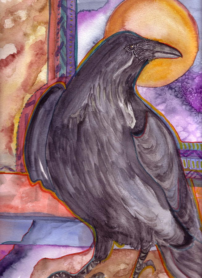 Wildlife Painting - Raven Steals Sunlight by K Hoover