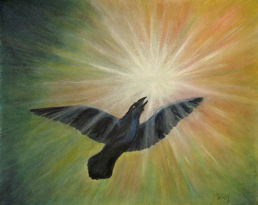 Raven Painting - Raven Steals The Light by Bernadette Wulf