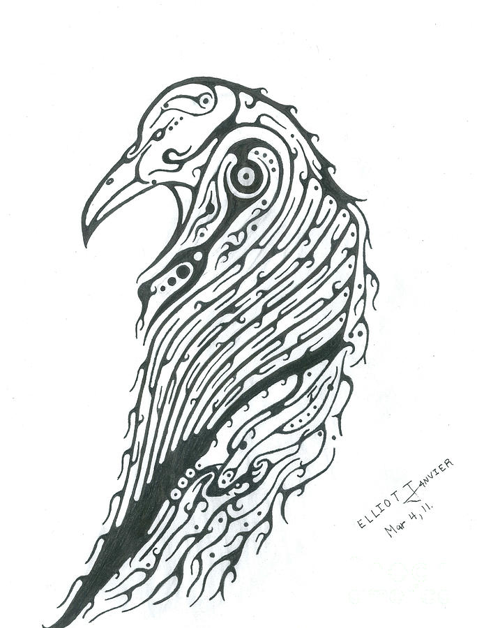 Line Drawing Raven : Raven totem drawing by elliot janvier