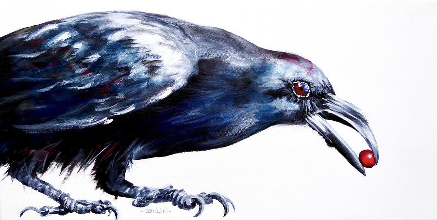 Raven with Berry by Pat Dolan