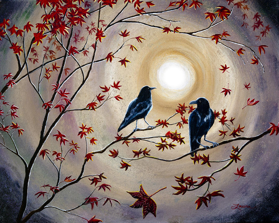 Raven Painting - Ravens In Autumn by Laura Iverson