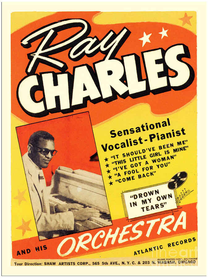 Ray Charles Rock N Roll Concert Poster 1950s