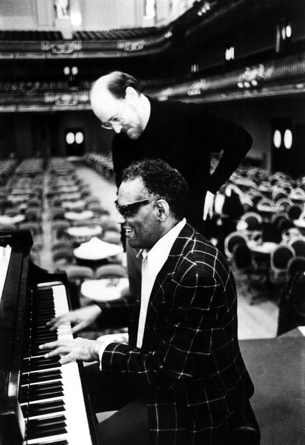 1980s Photograph - Ray Charles, With Conductorcomposer by Everett