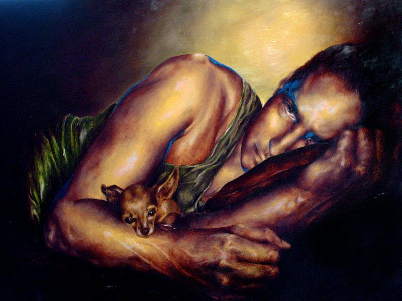 Portrait Painting - Ray by Eszter Csaki