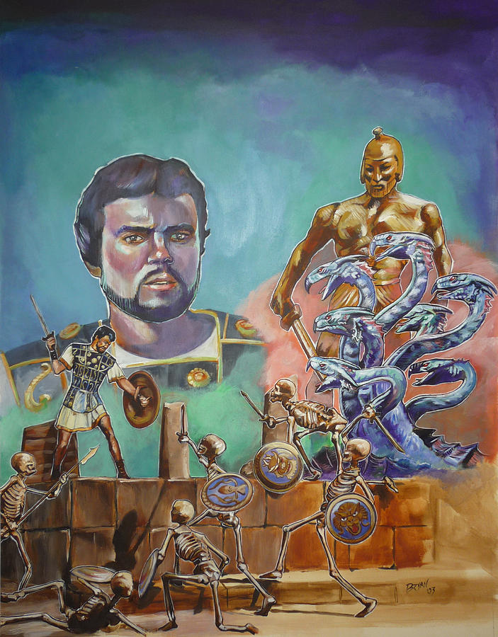Ray Harryhausen Tribute Jason And The Argonauts Painting by Bryan Bustard