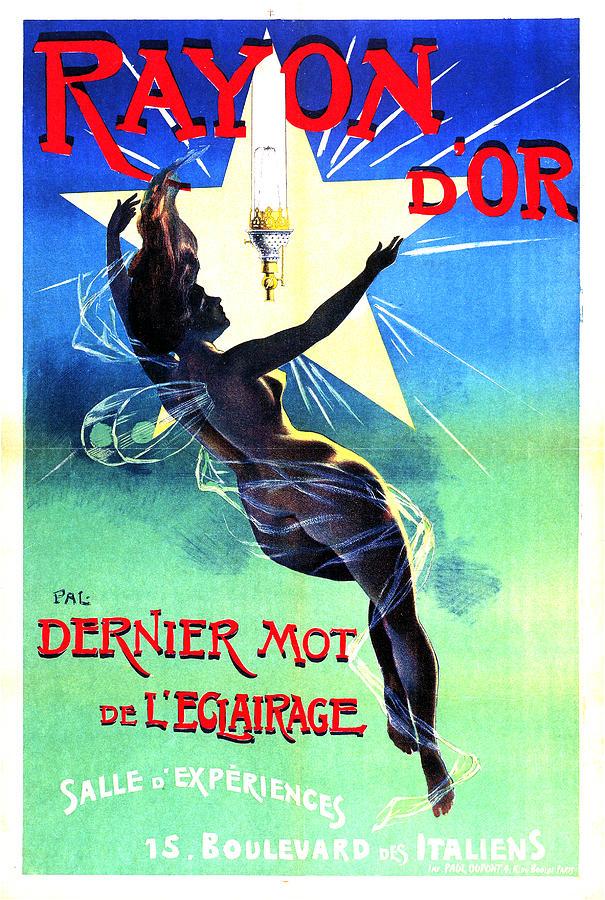 Rayon Dor, Paris - Gas Lamp Lighting Fixture - Vintage Advertising Poster By Jean De Paleologue Mixed Media