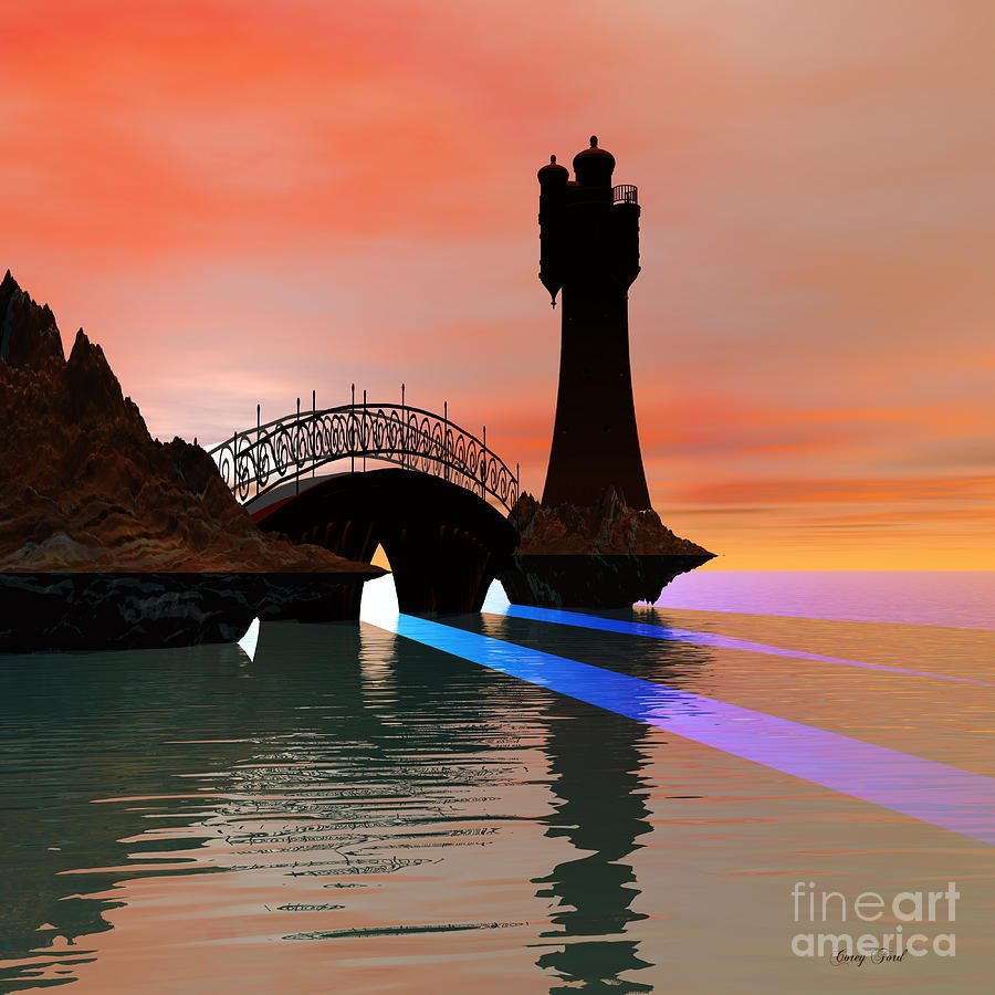 Lighthouse Painting - Rays by Corey Ford