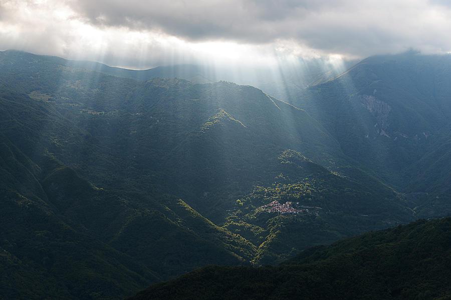 Hiking Photograph - Rays Of Light In The Clouds - Raggi Di Luce Tra Le Nuvole Dellalta Via Dei Monti Liguri by Enrico Pelos