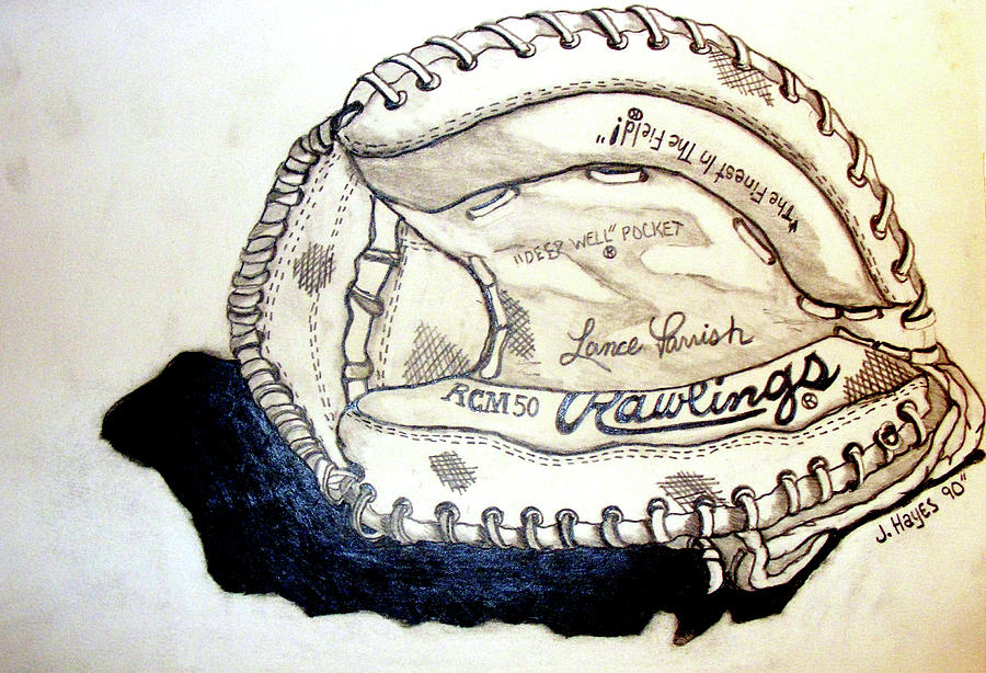 Catchers Mitt Drawing - Rcm 50 Lance Parrish by Jame Hayes
