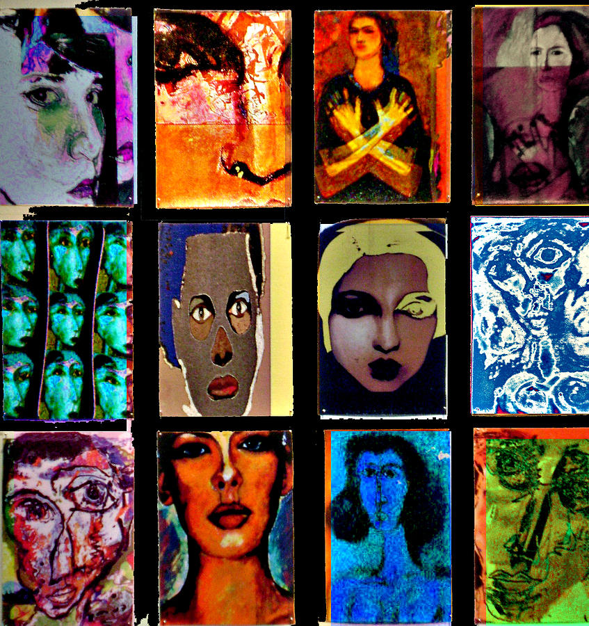 Faces Mixed Media - Re-arrangement by Noredin Morgan