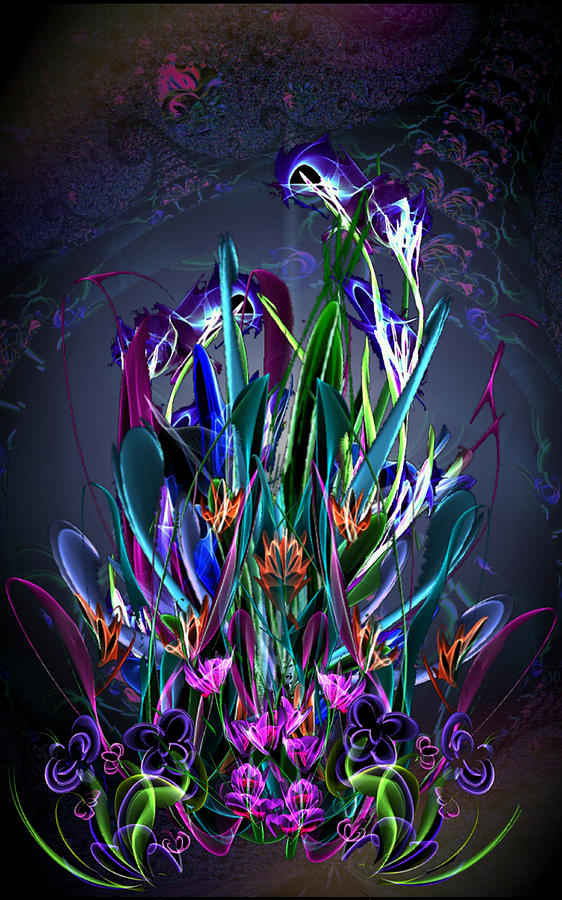 Floral Digital Art - Reaching Ever Upward by ReeNee Cummins