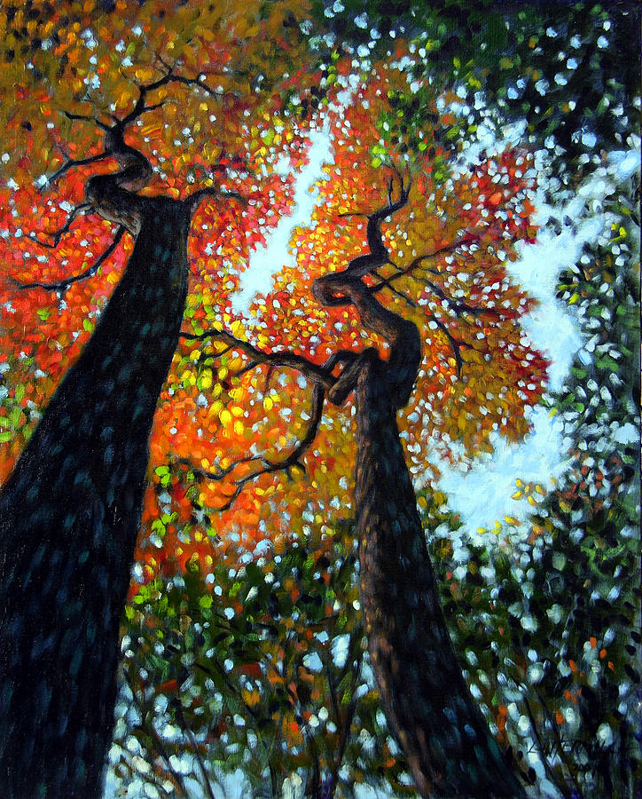 Fall Trees Painting - Reaching for the Light by John Lautermilch