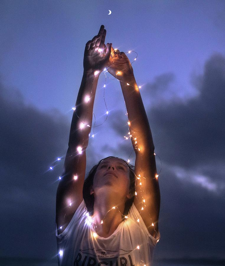 Portrait Photograph - Reaching For The Moon by Nathan Lapham