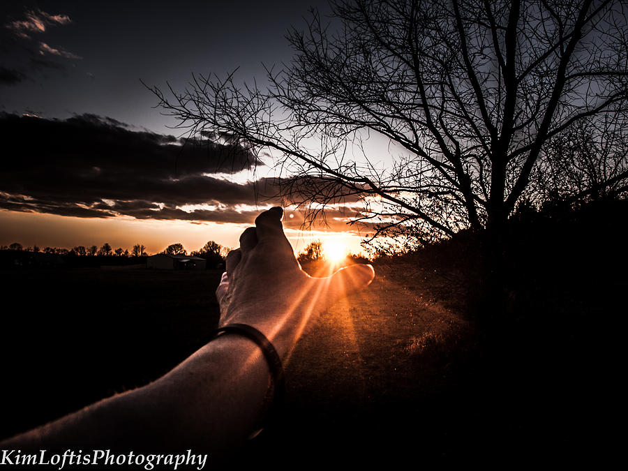 Sunset Photograph - Reaching Out To Dad In Heaven  by Kim Loftis