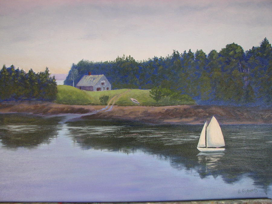 Landscape Painting - Reaching Past Bar Island by Laura Roberts