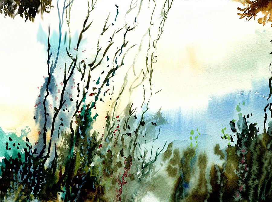 Watercolor Painting - Reaching The Sky by Anil Nene