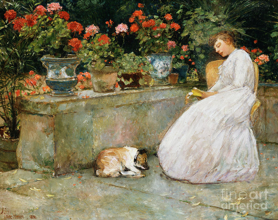 Childe Hassam Painting - Reading, 1888 by Childe Hassam