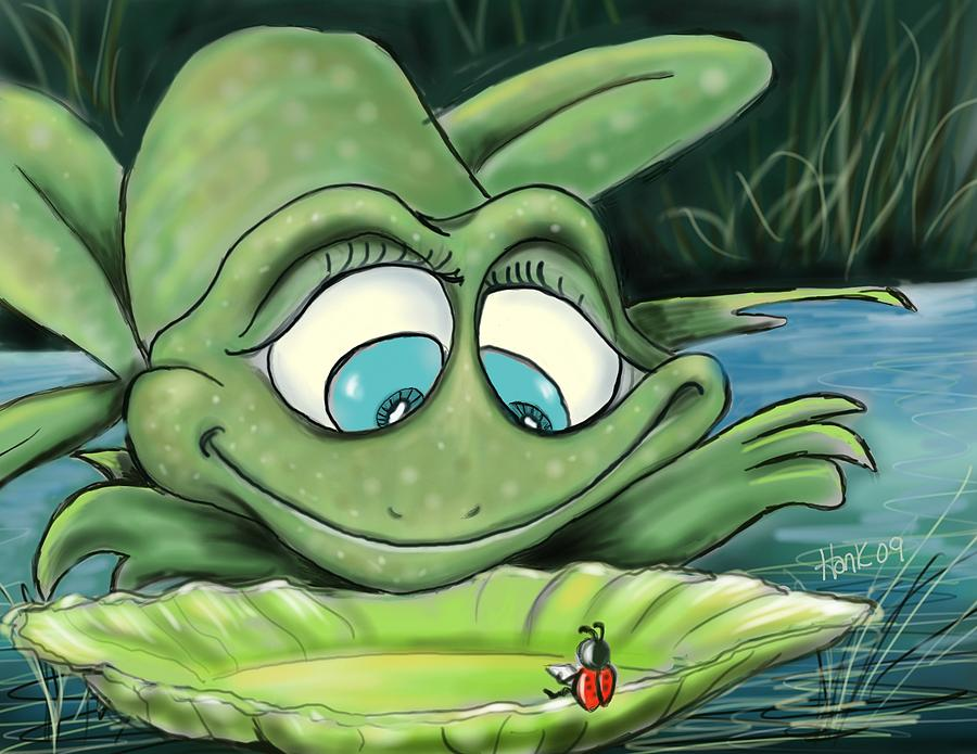 Frogs Digital Art - Reading By The Pond by Hank Nunes
